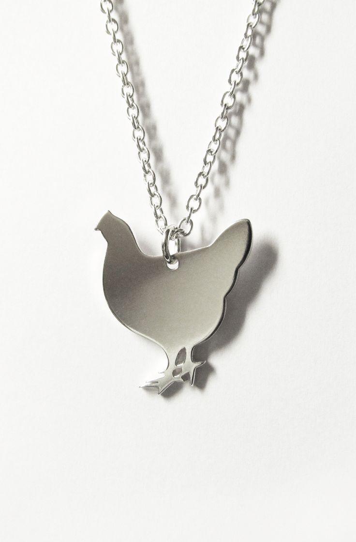 Chicken necklace silver