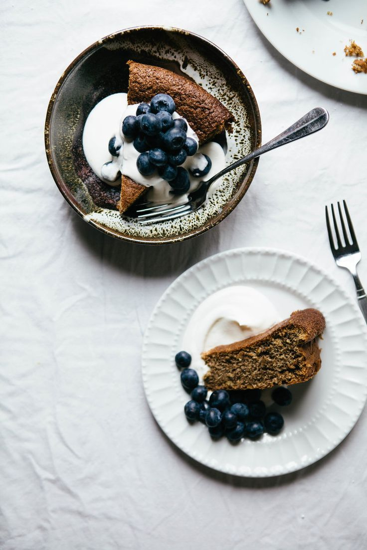 Walnut Cake with Cream and Blueberries