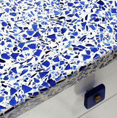 Gorgeous recycled glass countertop made with Skyy vodka bottles.