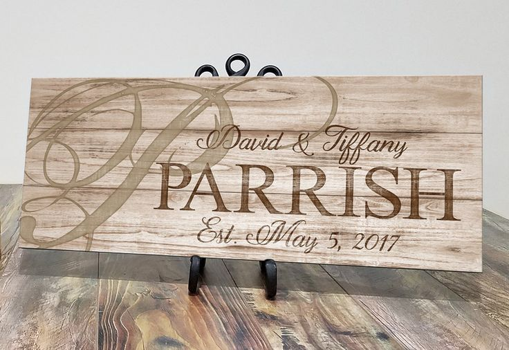 "Personalized Wood Family Name Established Sign Personalized Wedding Anniversary Gift. Our personalized wooden family signs not only make great gifts for weddings and anniversaries, they are also ideal gifts for housewarmings, bridal showers, and closing gifts for realtor's clients. 2 sizes to choose from: 8"" x 20"" x .75"", and 10"" x 24"" x .75"", both made of top quality birch wood Arrives ready to hang from the included metal sawtooth hanger. Vinyl bumpers are also installed to protect…"