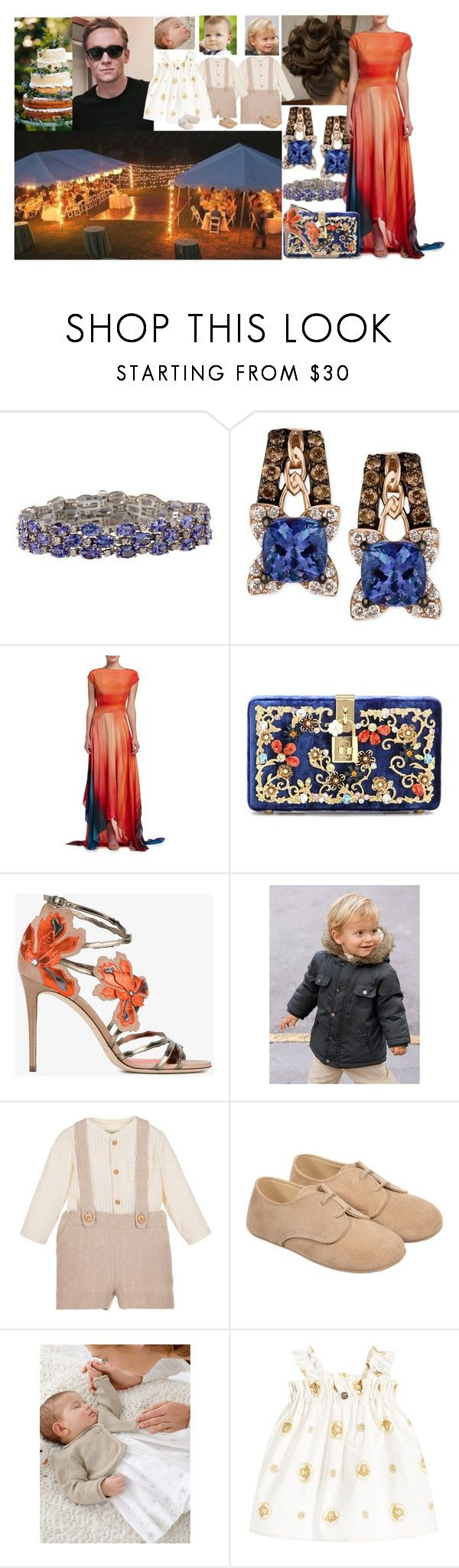 """""""Rebecca, Jacob, Benjamin, Julian and Sarah Miller at the wedding of Alexander and Fiona"""" by charlottedebora ❤ liked on Polyvore featuring LE VIAN, ZAC Zac Posen, Dolce&Gabbana, Jimmy Choo and Nanos"""