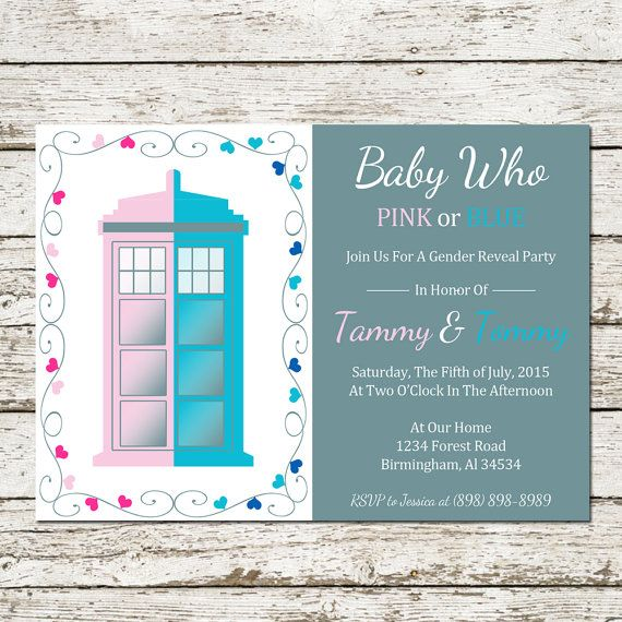 Doctor Who Gender Reveal Printable by SweetTeaAndACactus on Etsy