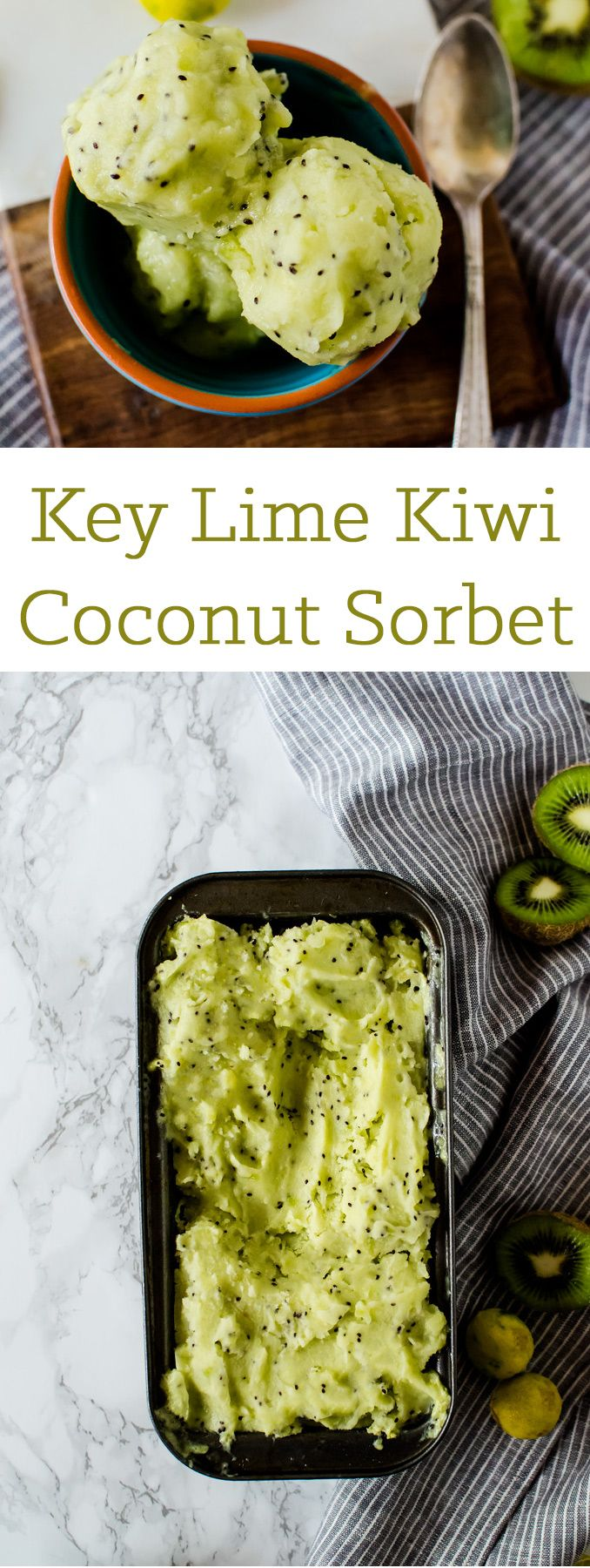 This tropical kiwi sorbet is infused with key lime and coconut for an incredible summer dessert you will not be able to put down.