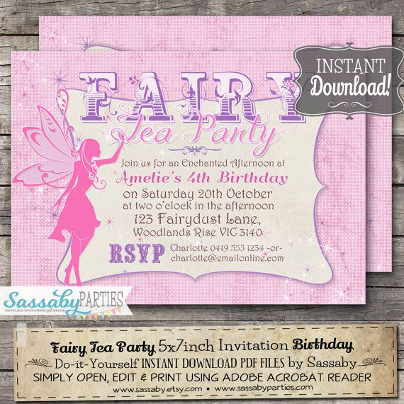 Fairy Tea Party Invitation INSTANT DOWNLOAD by SassabyParties