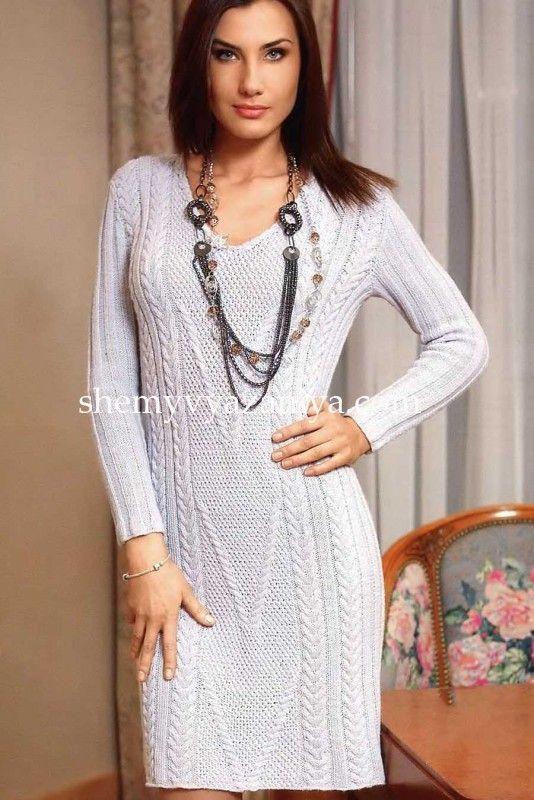 Платье с косами и рельефным узором