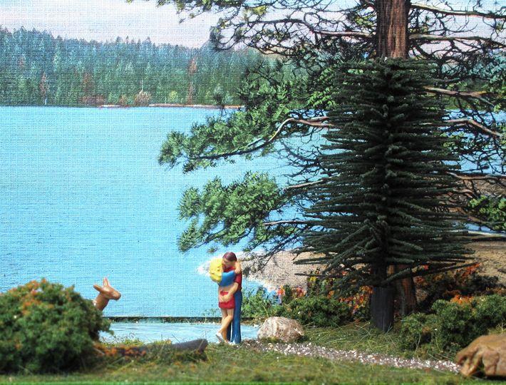 vintage postcard diorama