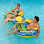 2-Person Inflatable Cooler Tube, Blue/Yellow