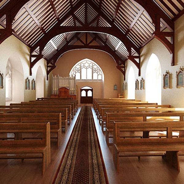 Protestant Church Interior 3d Obj Protestant Church
