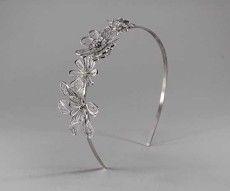 Cerchietto da sposa con fiori in argento