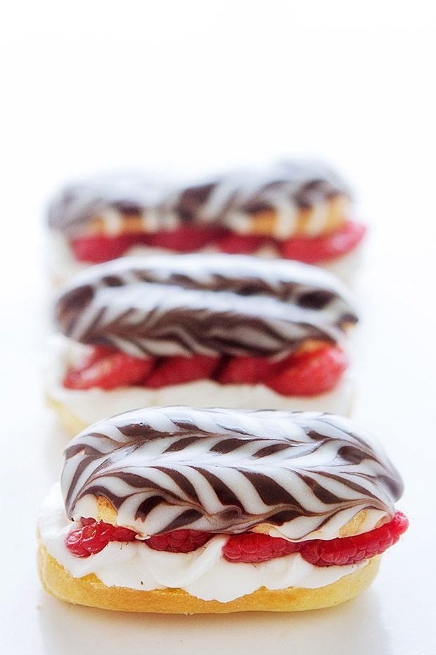 Raspberry Eclairs via Bakers Royale