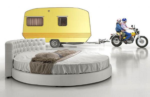 cama redonda 12 - cama tapizada piel,polipiel o tela