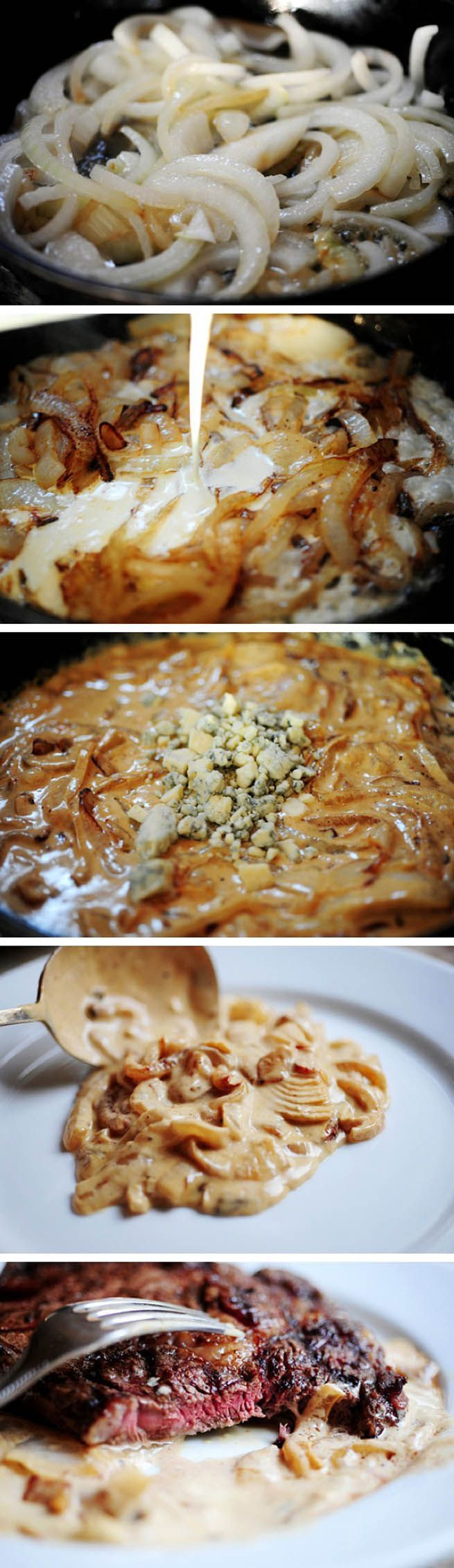 Grilled Ribeye Steak with Onion-Blue Cheese Sauce serve with rosemary rolls