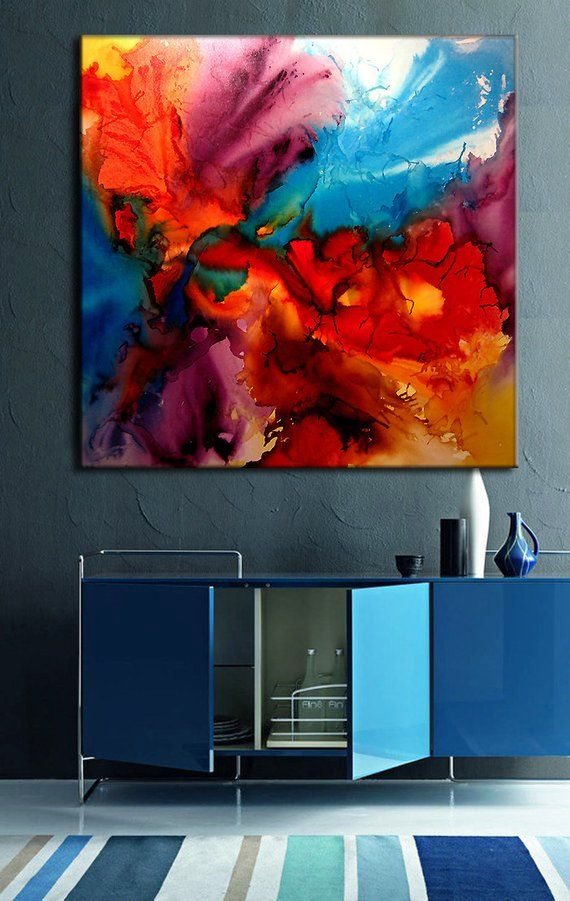 X-Large Colorful Abstract painting, Contemporary Modern Red, Blue yellow wall art On Canvas by Henry Parsinia