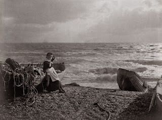 Nor'Easter, by Henry Peach Robinson, 1890. Robinson was a pioneer of 'combination printing', and early form of photomontage, whereby negatives would be combined to produce a single image. Much of his efforts were dedicated to obtaining a good exposure of both landscape and sky.