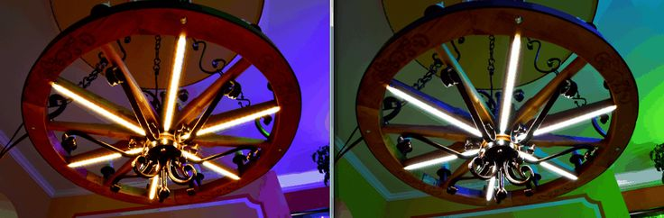 Wagon wheel chandeliers. Dual White Color Temperature Adjustable LED flexible strip. The color of light changes the color of the environment
