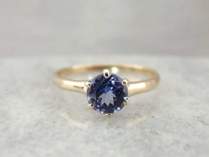 Yellow Gold Engagement Ring 0.50 ct Round Shape 14k Blue Tanzanite Gemstone  #GoldJewellery17 #Solitaire
