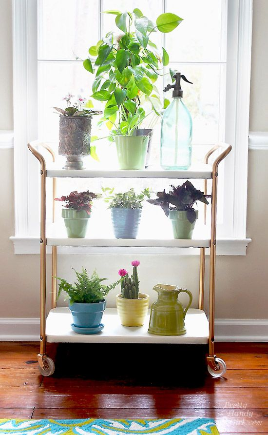 "Upcycled Plant Cart Saved From ""Above The Rim""  - This past summer I spied a metal cart in a dumpster. To be frank, I have never truly actually participated in dumpster diving. The thought of actually climbing inside a dumpster has never been on my acceptable things to do list. But, this metal bar cart was floating on top of the trash pile. It was (to quote a Seinfeld episode) above the rim! And it was begging to be upcycled into a beautiful plant cart."