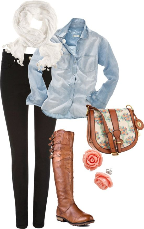23 Spring Trendy Polyvore Combinations - Fashion Diva DesignFashion, Style, Clothing, Denim Shirts, Fall Outfit, Cute Outfit, Spring Outfit, Bags, Boots