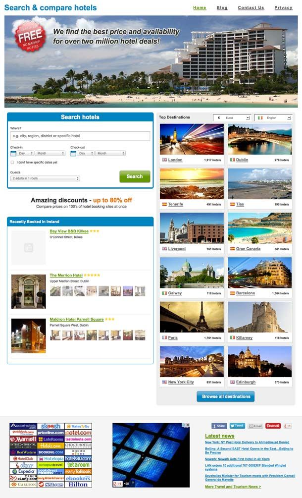 Hotels search compare website for sale!  Dig into the multi-trillion dollars travel/hospitality industry with this exceptionally smooth and clean WordPress/private branding integration. Search/compare huge database of 2+ million HOTELS in over 220 countries and 120,000 destinations. The site also includes a powerful aggregator pulling in fresh content every day on autopilot! Plus opt-in box, social links, social 'likes', multiple headers and more make this site really stand out in this…