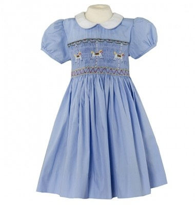 AnnBlueCarous11 ADORABLE! ANNAFIE of LONDON 2012 Collection Exquisite 100% fully lined Cotton CAROUSEL Hand Smocked and Hand Embroidered Dress Available in 12mths, 18mths, 2yrs, 3yrs, 4yrs, 5yrs, 6yrs,7yrs, 8yrs