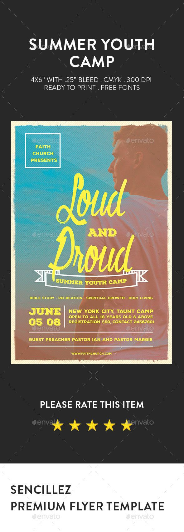 Summer Youth Camp Flyer Summer Youth Camp Flyer best suited for church camp, camps, or any event or session.This item also has one PSD file, but you can edit/change the style with just one click.DetailsFlyers size is 46 with .25 bleeds, CMYK 300DPI Layers are