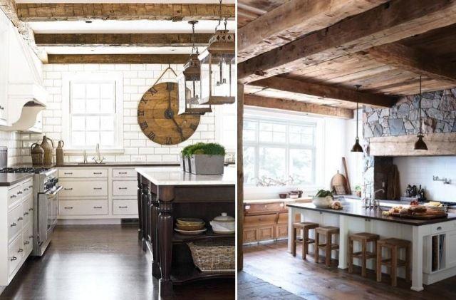 weiße Rustik-Küche im Mittelmeerstil-sichtbare Deckenbalken verleihen Struktur