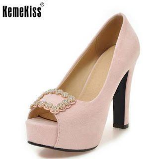 Ladies High Heels Shoes Women Pumps Peep Toe Platform Thin Heels Sexy Bowknot Brand Fashion Shoes Rhinestone Footwear Size 32-43 (32796191076)  SEE MORE  #SuperDeals