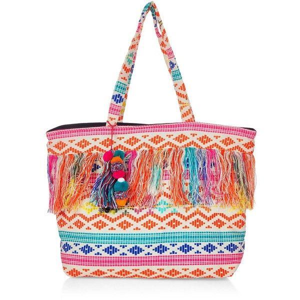 Pink Aztec Fringe Pom Pom Beach Bag (€30) ❤ liked on Polyvore ...