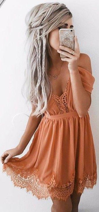 #summer #elegant #feminine   Burnt Orange Lace Details Little Dress