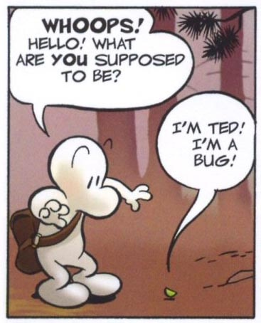 """Fone Bone meets Ted the Bug from """"Bone"""" by Jeff Smith"""