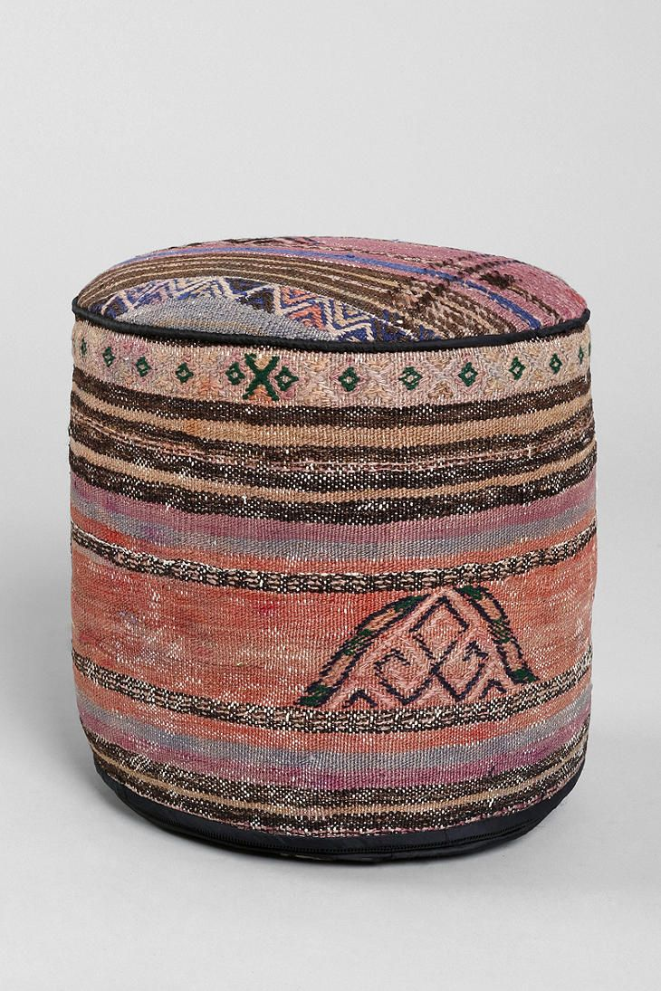 Vintage Woven Pouf Ottoman $175 Urban Outfitters