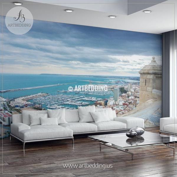 View from Santa Barbara Castle at the hill in the center of Alicante to the port Wall Mural, Spain Landmarks Photo Mural, Costa Blanka in Spain photo mural