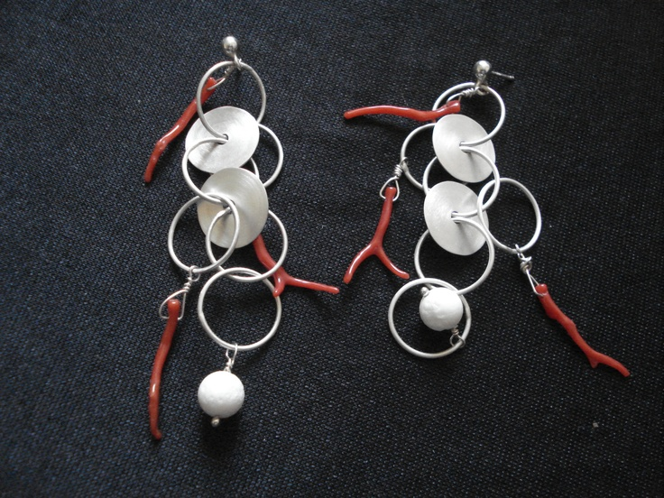 Sterling silver, white & red coral