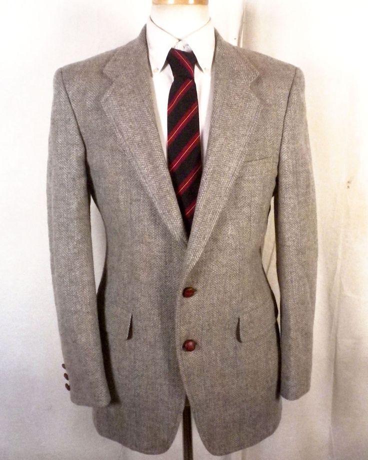 euc Boyds Threadneedle Street gray Striped 100% Wool Tweed Blazer Sportcoat 40 R #BoydsThreadneedleStreet #TwoButton
