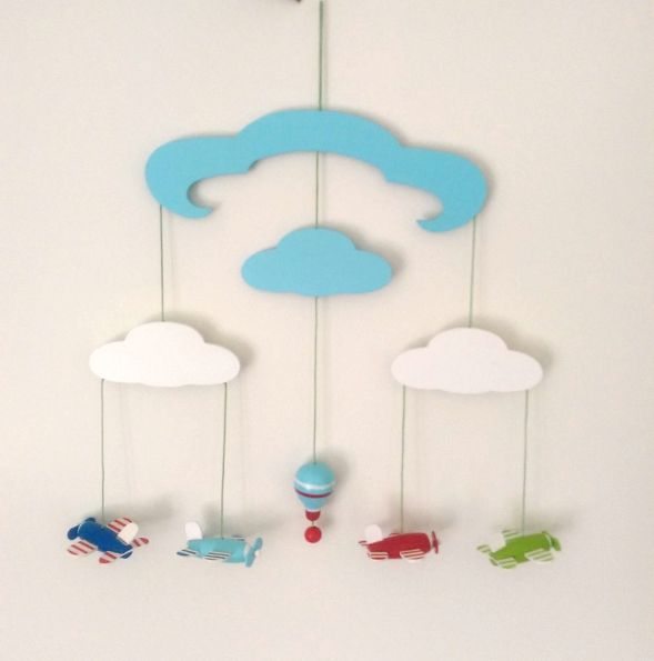 This gorgeous mobile is the perfect addition to any little boy's bedroom. Hang it on the wall or from the roof & entertain your little one as they watch the mobile swing.  Dimensions: Height approx. 38cm Width approx. 41cm