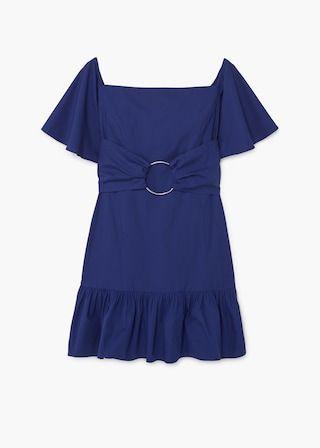 Φόρεμα με κρίκο και βολάν   MANGO ΜΑΝΓΚΟ