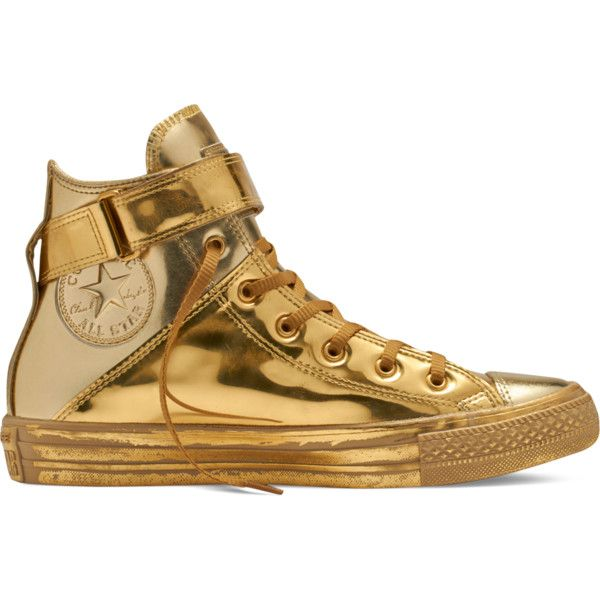 Converse Chuck Taylor All Star Brea Metallic – golden haze/gold/gold... ($80) ❤ liked on Polyvore featuring shoes, sneakers, converse trainers, hi-tops, gold shoes, strap sneakers and high top sneakers