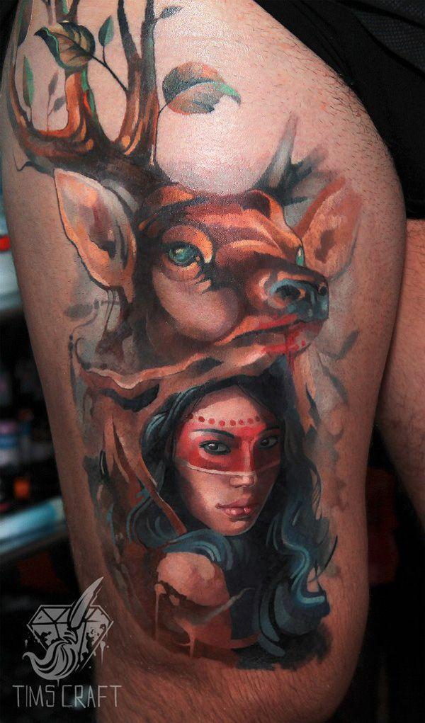 45 Inspiring Deer Tattoo Designs   Cuded Watercolor deer (minus lady)