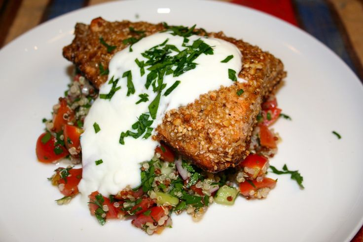 Crispy Skinned Dukkah crusted Salmon with Quinoa Tabbouleh