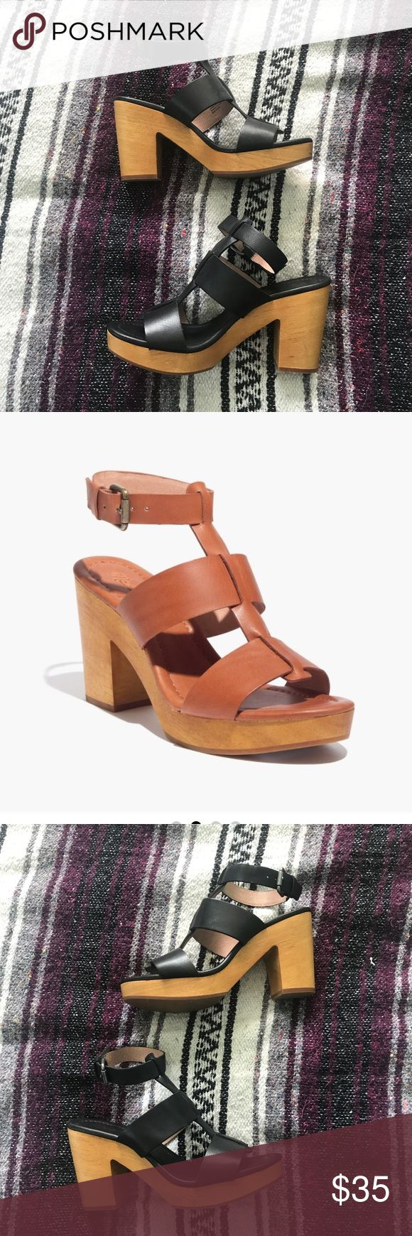 """Madewell Irving Sandal These are a pair of Madewell's Irving Sandal in black leather with a wooden heel. They are in excellent condition and have never been worn. They have a 3 3/4"""" heel and can be easily transitioned from summer to fall! Madewell Shoes Sandals"""