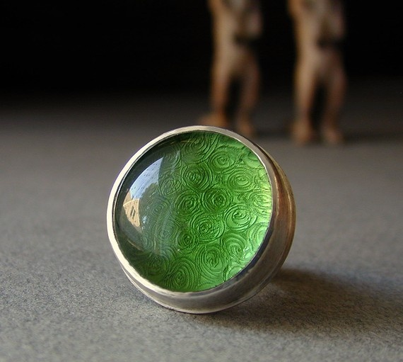 Green Glass and Sterling Ring with Spirals by betsybensen on Etsy, pretty!