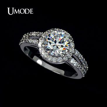 Купить UMODE Кольца для помолвки с покрытием из белого золота  и 2 швейцарскими фианитами 2к UR0021и другие товары категории Кольцав магазине UMODE JewelryнаAliExpress. кольцо запрос и кольцо с бирюзой