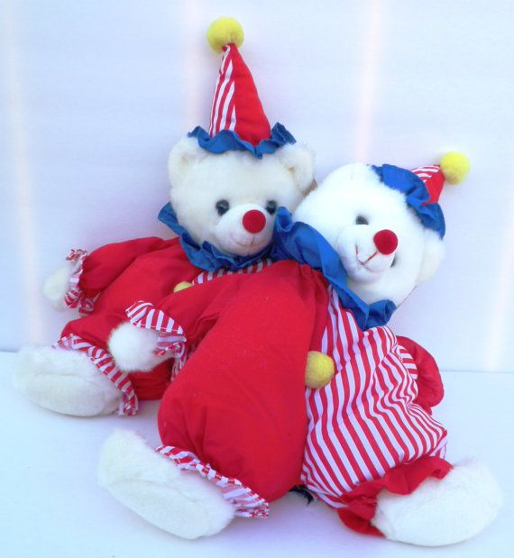 Vintage Clown Bear Plush Caress Soft Pets Happy by by RenewedFinds, $19.99