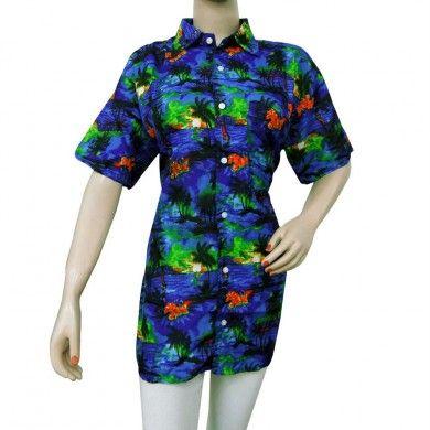 Blue Tropical Vacation Shirt Button Down Aloha Men/Women Hawaiian Shirt Sz XL
