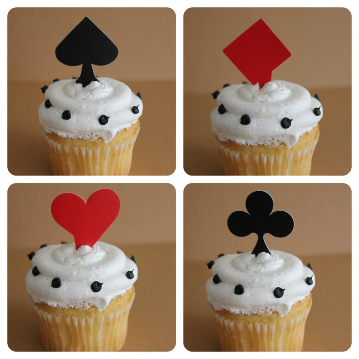 24 Playing Card Cupcake Topper Picks - perfect for casino night or Vegas themed events.