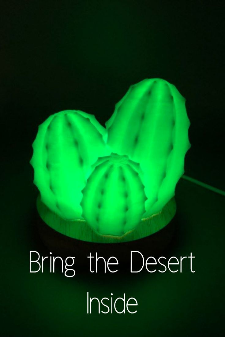 This 3d Printed Cactus Lamp Is The Perfect Desk Accessory For The Desert Lover In Your Life Lamp Deskacces Cactus Lamp Perfect Desk Accessories 3d Printing