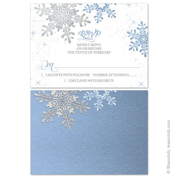 Lapis blue, silver, and white winter snowflake wedding invitation and rsvp reply card. The colors are lapis blue, simulated silver grey, and white paired with winter snowflakes. A good color combination for an elegant winter wedding. We will personalize the text for you when you purchase