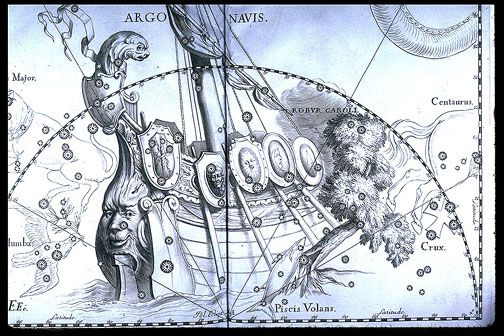 "Argo Navis, large & ancient constellation of the southern skies, it represents the ship that Jason & the Argonauts used to search for the Golden Fleece. It's no longer one constellation, having been broken down into three separate ones by Lacaille: Carina, the keel; Puppis, the ship's deck; & Vela, the sail. Pyxis, the compass, was also added near the ship. (Credit: Hevelius, Uranographia) Mona Evans, ""Obsolete Constellations"" http://www.bellaonline.com/articles/art300737.asp"