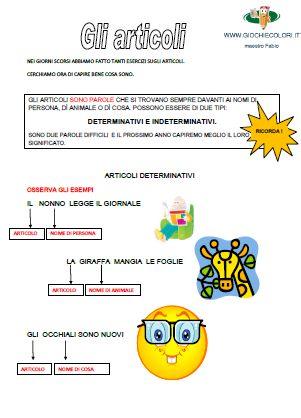Giochi e colori ! Schede didattiche del Maestro Fabio: SCHEDE DIDATTICHE CLASSE PRIMA-SECONDA ELEMENTARE: GLI ARTICOLI DETERMINATIVI E INDETERMINATIVI