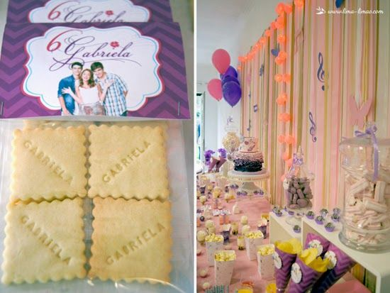 Cookies with the name of the birthday girl for this Violetta themed party